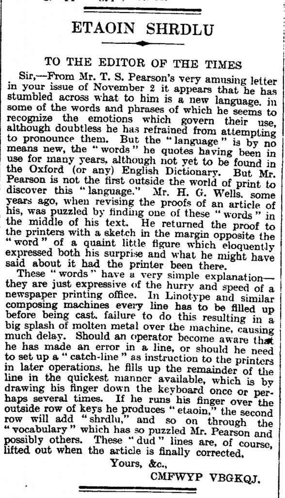Etaoin shrdlu - Letter to the Times newspaper from November 1929