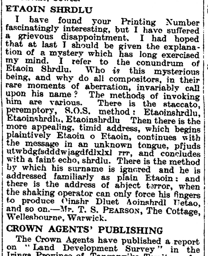 Letter to the Times newspaper about etaoin shrdlu in 1929