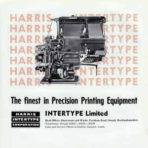 An advert from 1961 for the latest Harris Intertype mechanical type-setting machine