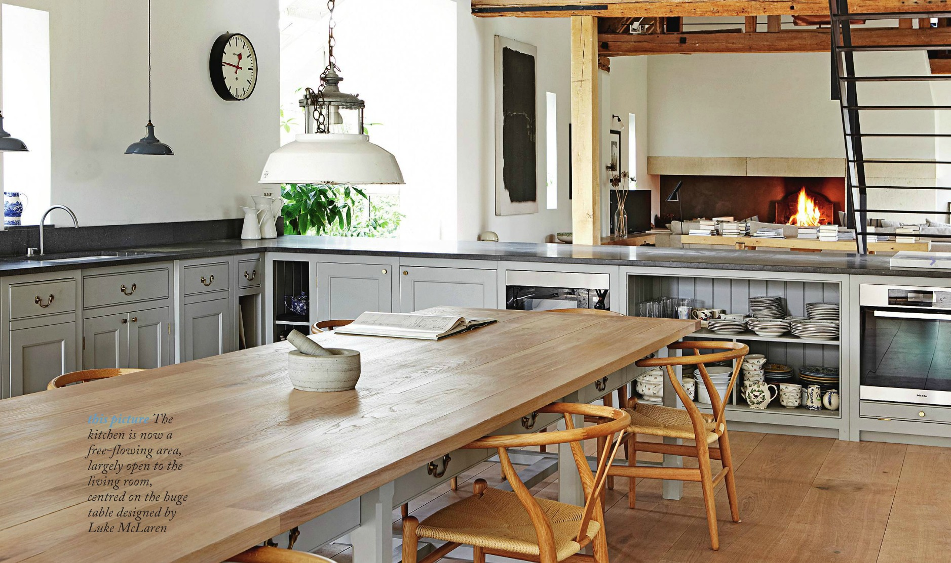 kitchen pendant lights over the table and work surfaces