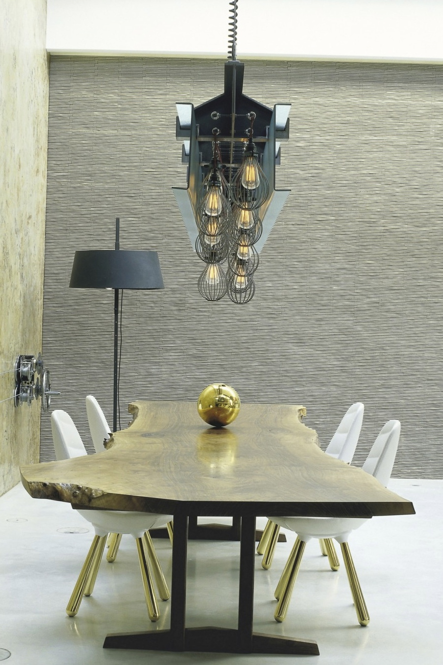 Factorylux cage lighting above the dining table