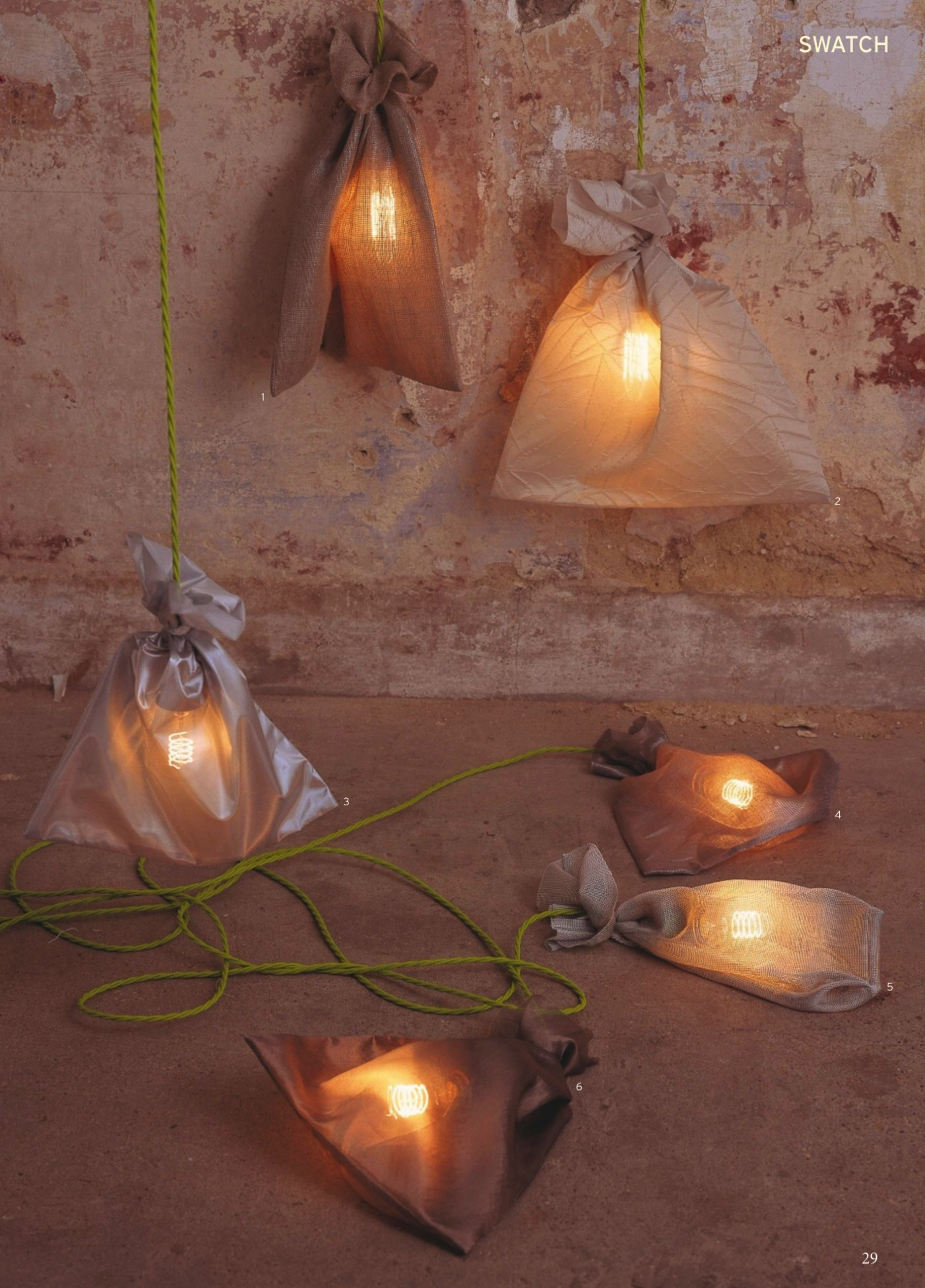 vintage filament light bulbs wrapped in fabric