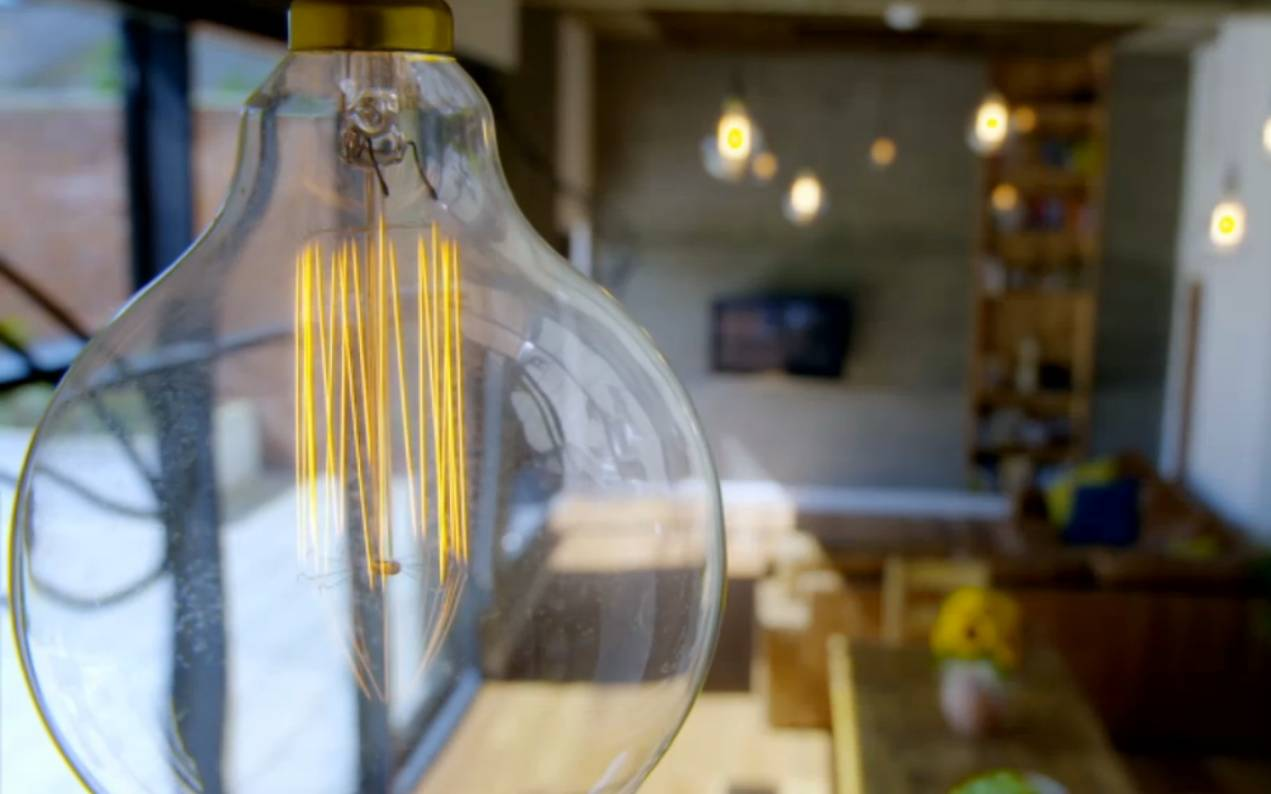 filament light bulbs at the Old Picture house in Thorne
