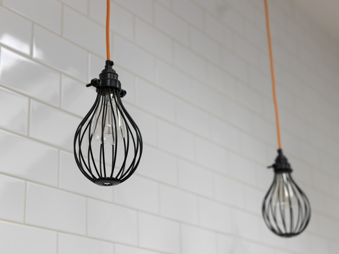 close-up of the cage pendant lights