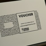 The gift voucher before the value and unique code are foiled.