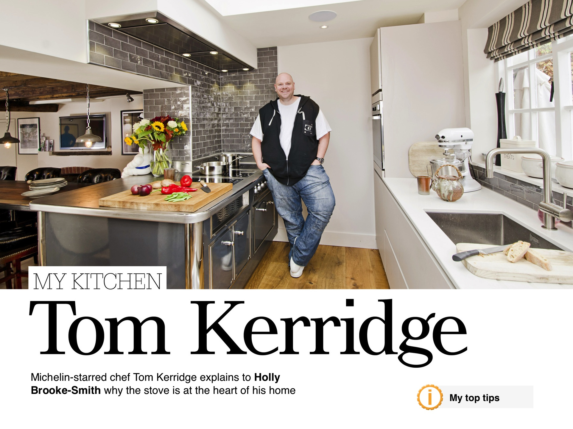 enamel lamp shades in Tom Kerridge's kitchen