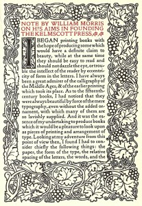 Note by William Morris on his aims in founding the Kelmscott Press