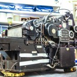 Heidelberg cylinder being wheeled into place
