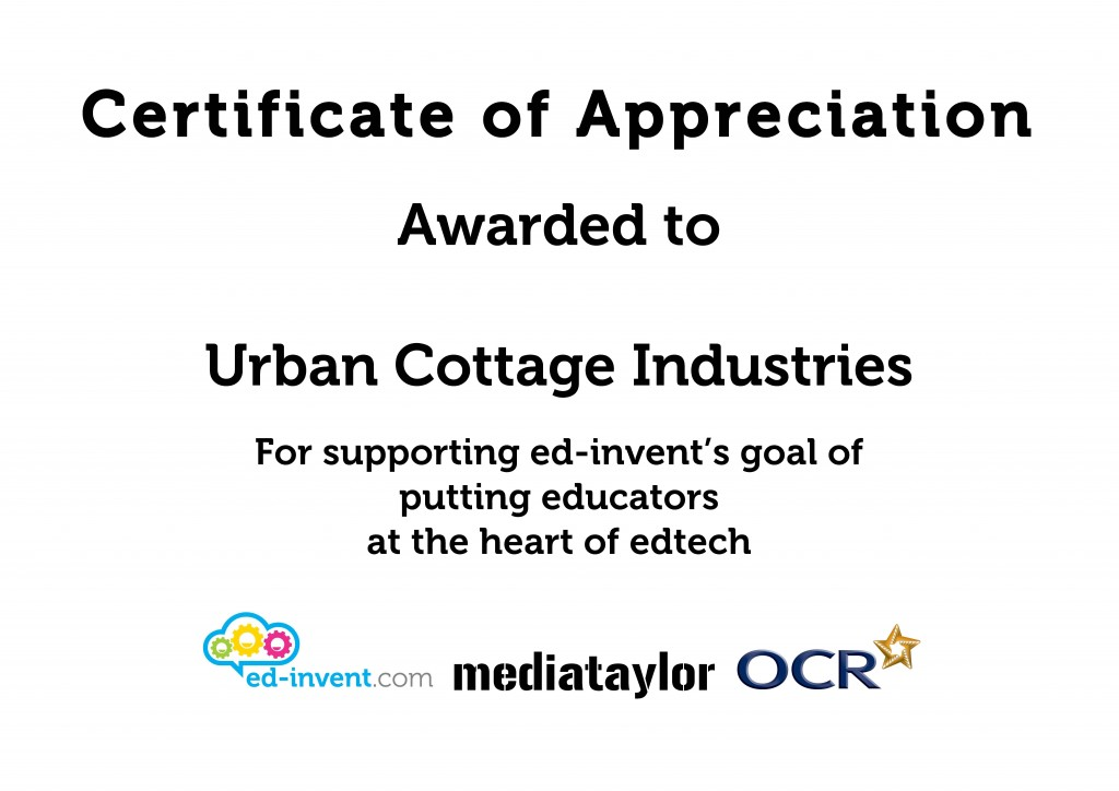Urban Cottage Industries Certificate of Appreciation