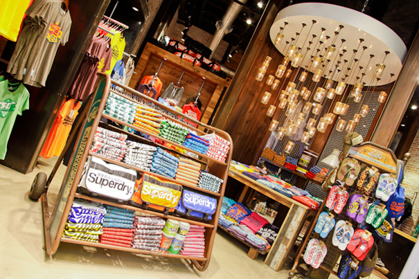 decorative light bulbs Superdry displays