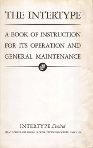 Title page of the Intertype Book of Instruction