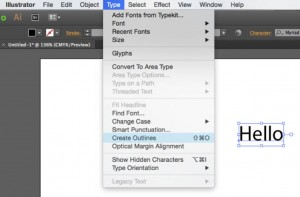 Screen shot of create outlines menu option in Adobe Illustrator
