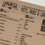 kraft paper menu from Sandinista, Leeds