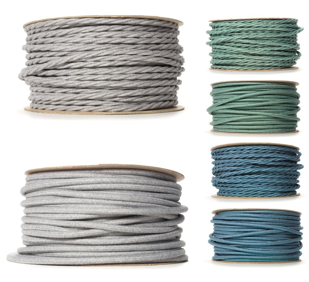 decorative lighting cables - grey sage teal