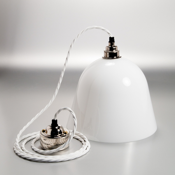 glass lamp shade with silver fittings