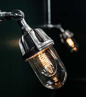 industrial lanterns and spiral filament bulbs