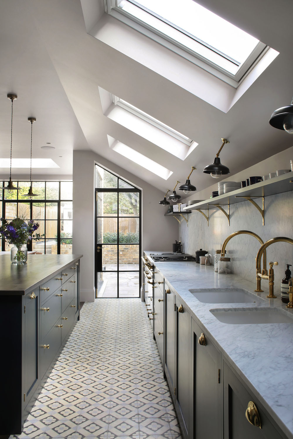 kitchen angled ceiling lights