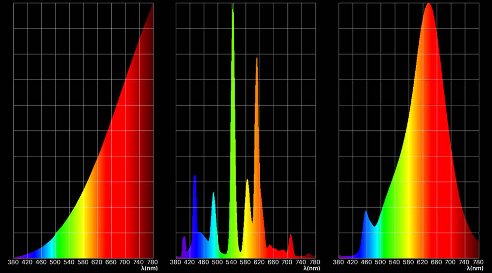 Spectra of three light sources (left to right): incandescent, compact fluorescent and LED