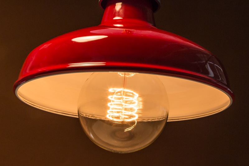 Red lamp shades factorylux for the hydrant at monument aloadofball Image collections
