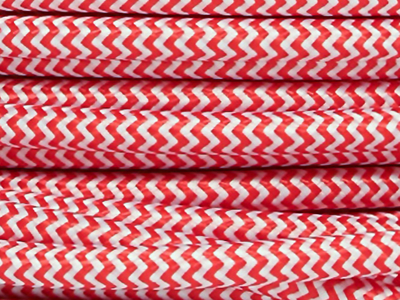 red and white fabric lighting cable