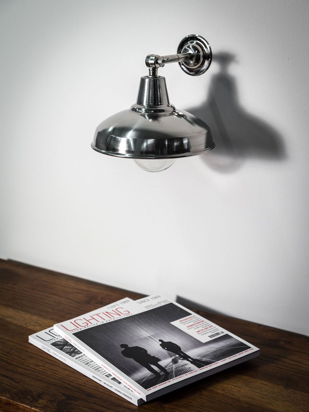 wall light light with stainless steel lamp shade