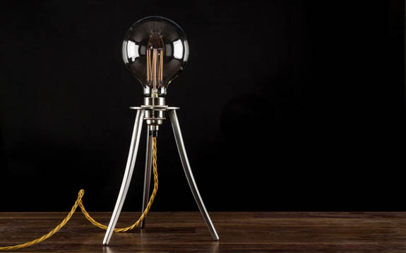 Lamp with Large Globe Squirrel Cage Filament Bulb