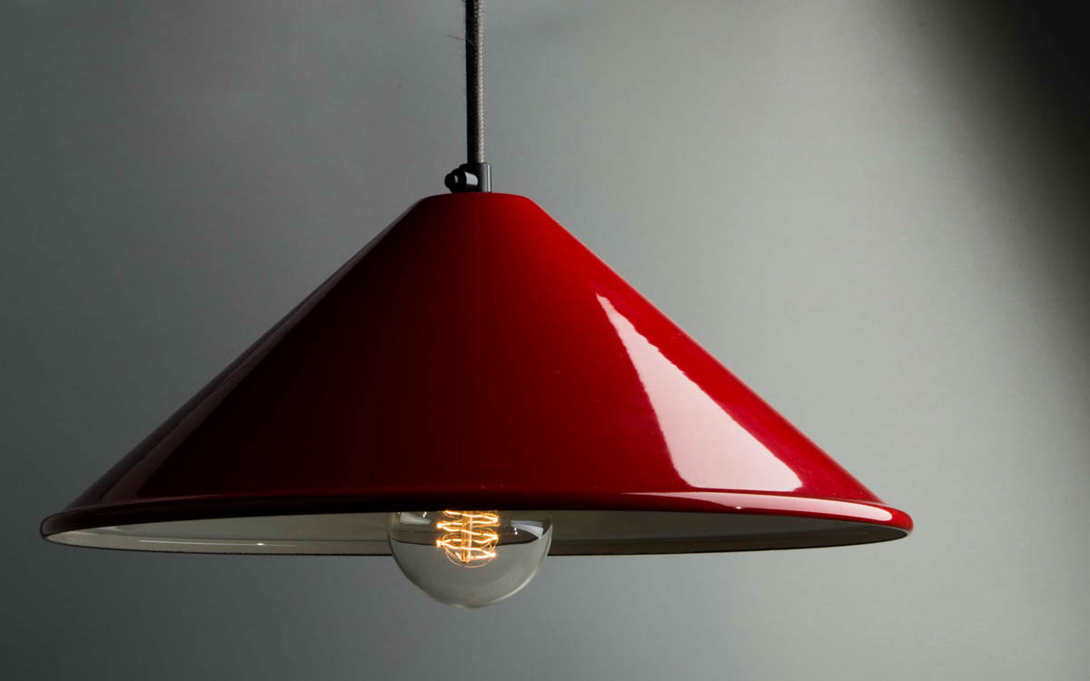 Red Enamel Coolie Lampshade | Light Shade | Factorylux