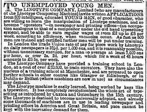 Advert in the Times newspaper from 1894 seeking linotype operators
