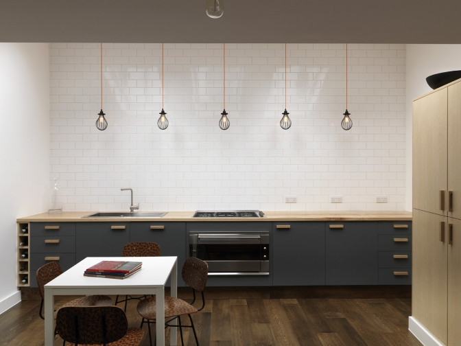 cage pendant lights in the Maclean Interiors designed kitchen
