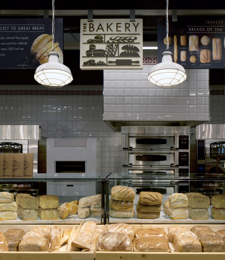 pendant lights above Marks & Spencer bakery counter