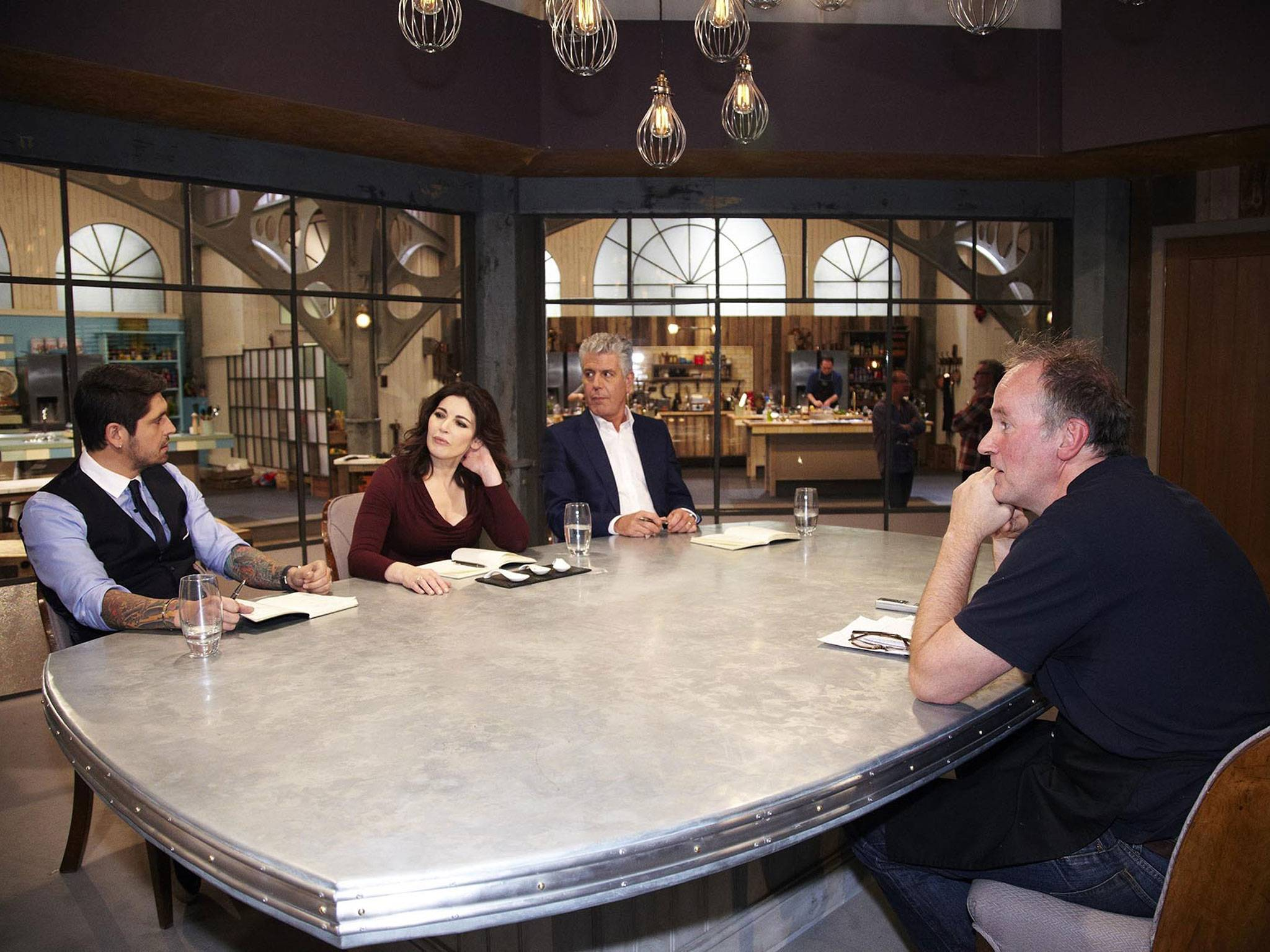 industrial pendant lighting on Channel 4's The Taste