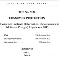 Front page of Consumer Contracts (Information, Cancellation and Additional Charges) Regulations 2013