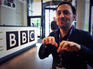 Musician and composer Tom Parkinson at the BBC