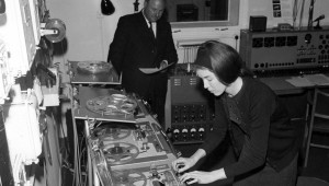 Delia Derbyshire operating a reel-to-reel tape recorder the BBC Radiophonic Workshop in Maida Vale