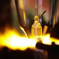 Filament light bulbs being made