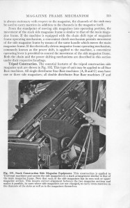 Part of the magazine frame mechanism of an Intertype machine