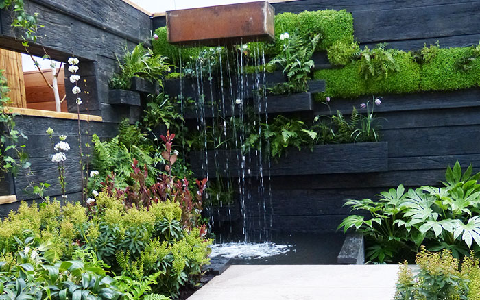 The water feature in the Writtle College garden