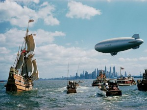 Retronaut Mayflower and blimp New York Harbour