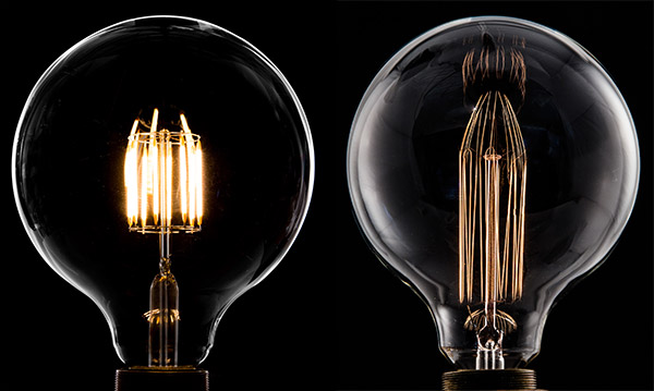 Factorylux LED v tungsten filament globes
