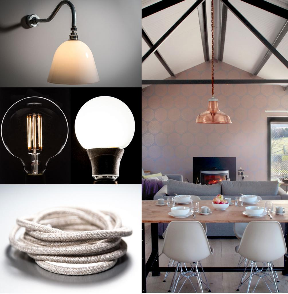 Swan Neck, Eco-lamp, Linen cable and pendant collage