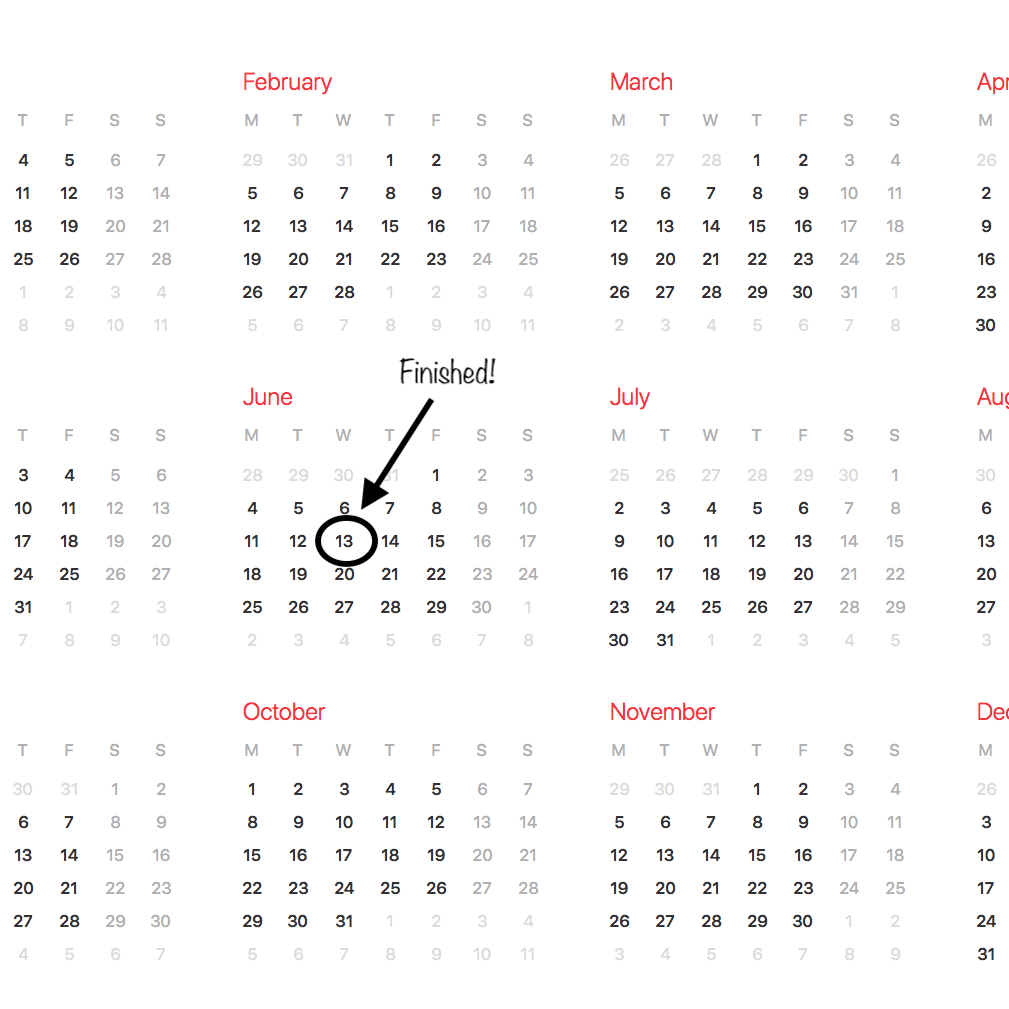 calendar - set a renovation timeframe