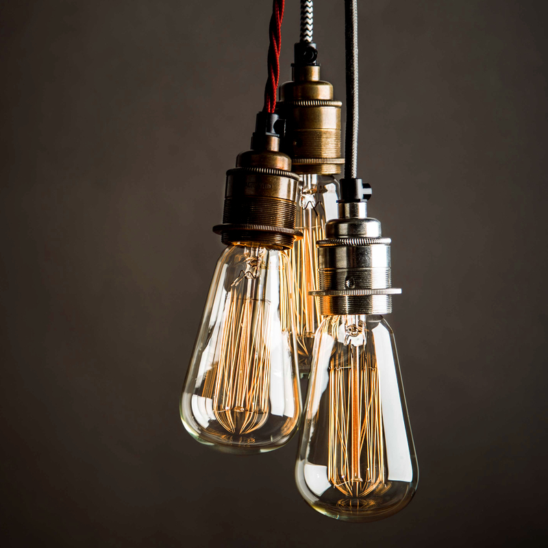 Pear shape squirrel cage, filament lamps. Decorative bare bulbs as per lighting tips number 6