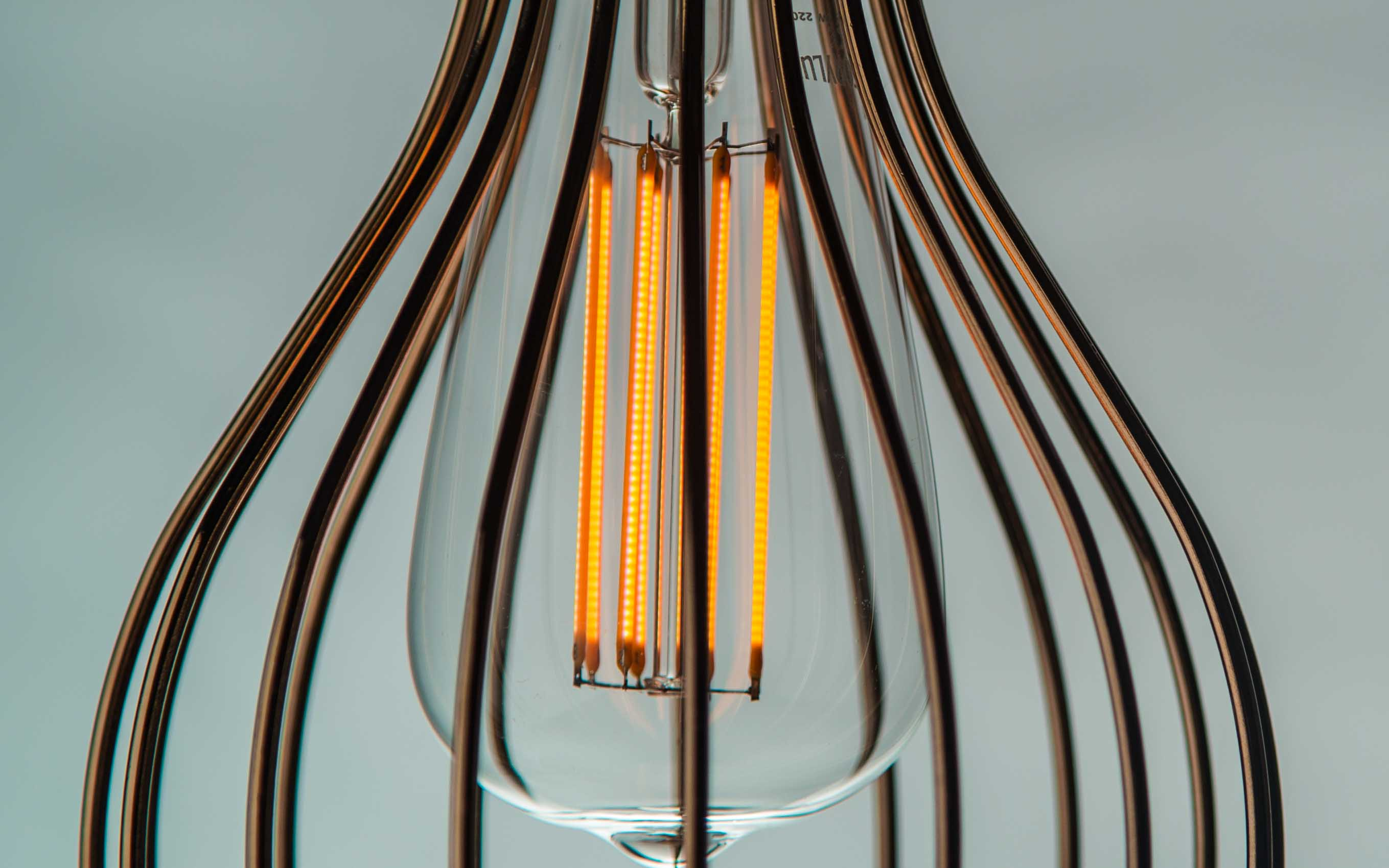 Wire Cage pendant lighting - Gold Balloon Cage up close