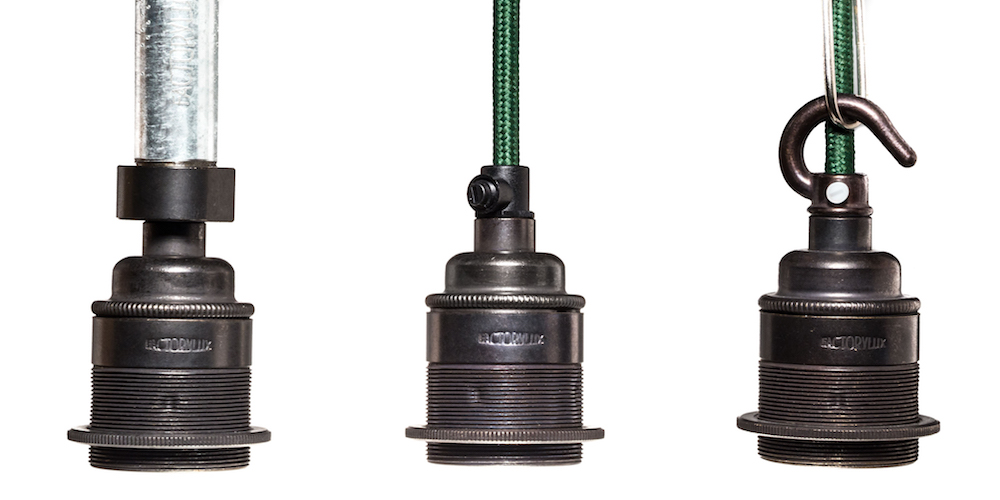 lamp holders - threaded cord grip hooked