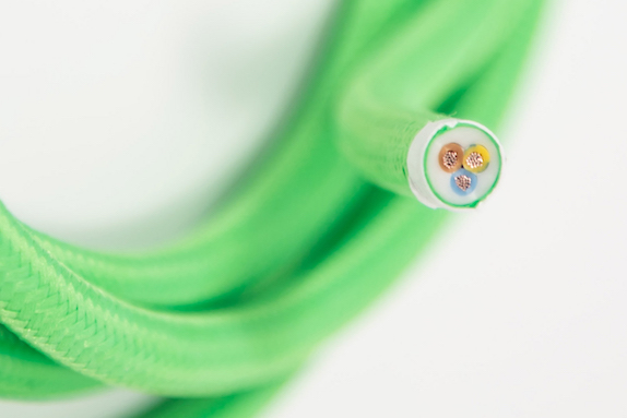 neon green round three core lighting cable