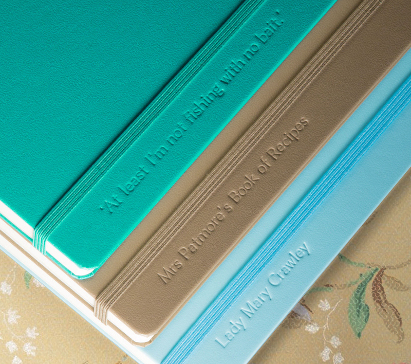 personalised notebooks green brown blue