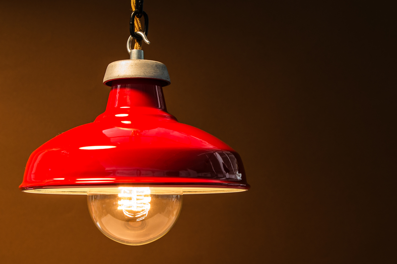 red kitchen lamp shade