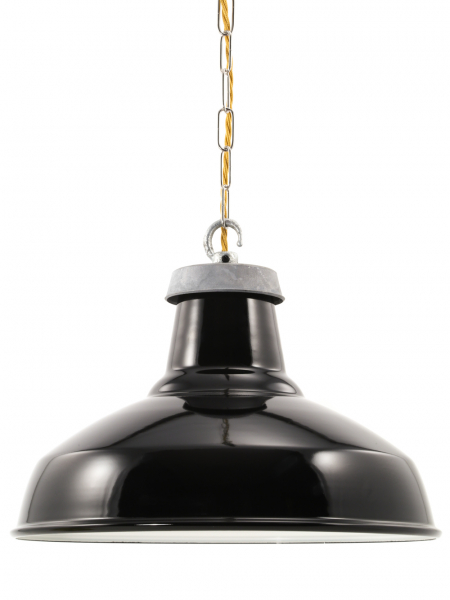 Gloss Black Enamel Industrial Lamp Shade | 360mm