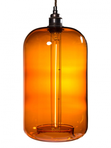 Amber Glass Cylinder Lamp Shade