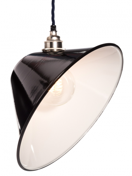Gloss Black Enamel Angled Lamp Shade